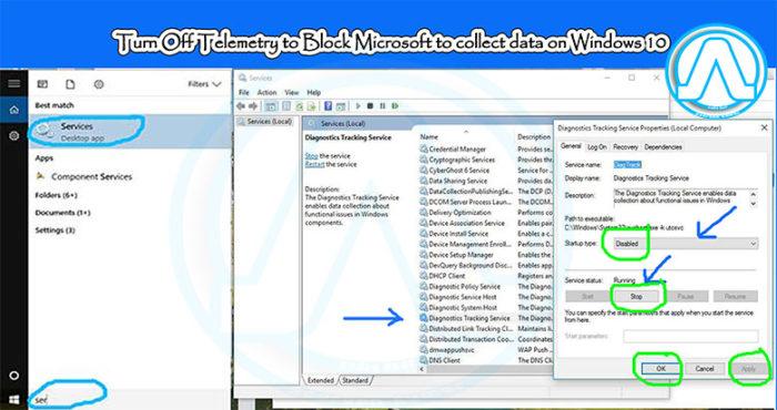 Turn Off Telemetry toBlock Microsoft to collect data on Windows 10